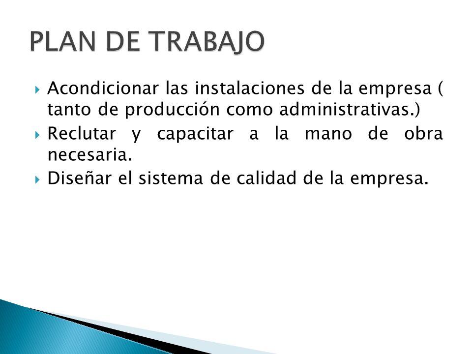 Acondicionar las instalaciones de la empresa ( tanto de producción como administrativas.) Reclutar y capacitar a la mano de obra necesaria. Diseñar el