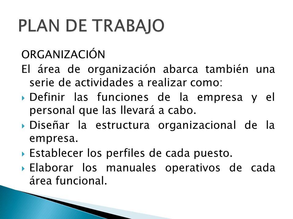 ORGANIZACIÓN El área de organización abarca también una serie de actividades a realizar como: Definir las funciones de la empresa y el personal que la