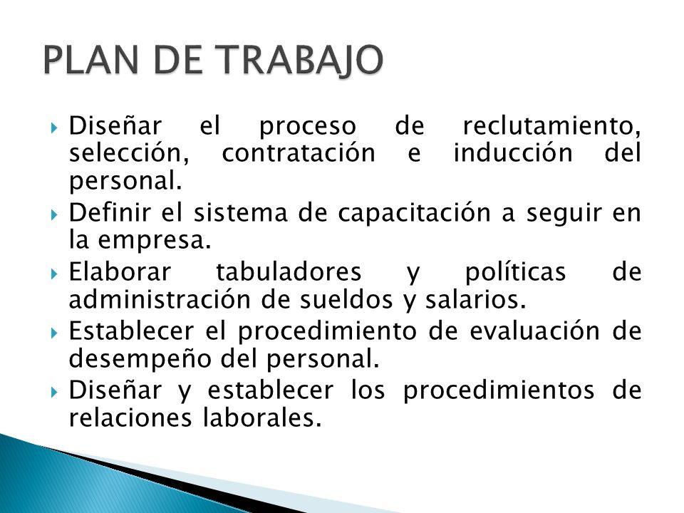 Diseñar el proceso de reclutamiento, selección, contratación e inducción del personal. Definir el sistema de capacitación a seguir en la empresa. Elab