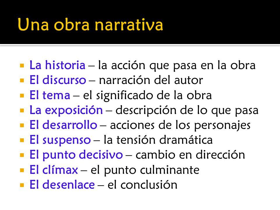 La historia – la acción que pasa en la obra El discurso – narración del autor El tema – el significado de la obra La exposición – descripción de lo qu
