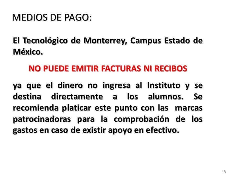 13 MEDIOS DE PAGO: El Tecnológico de Monterrey, Campus Estado de México.
