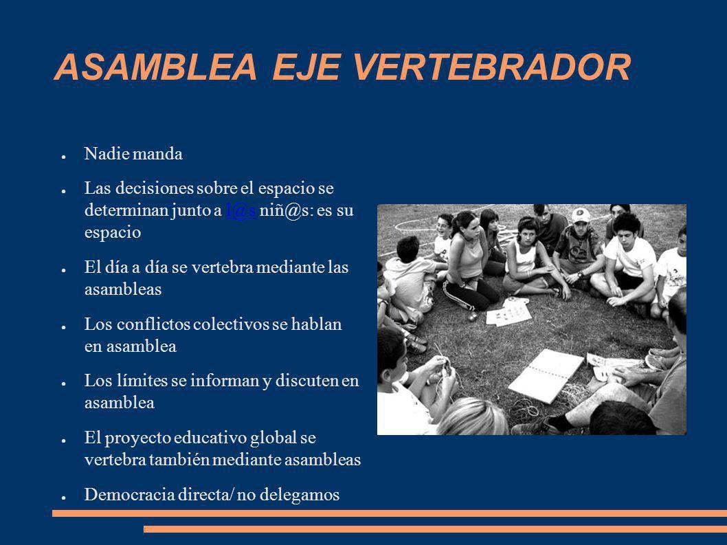 ASAMBLEA EJE VERTEBRADOR Nadie manda Las decisiones sobre el espacio se determinan junto a l@s niñ@s: es su espaciol@s El día a día se vertebra median