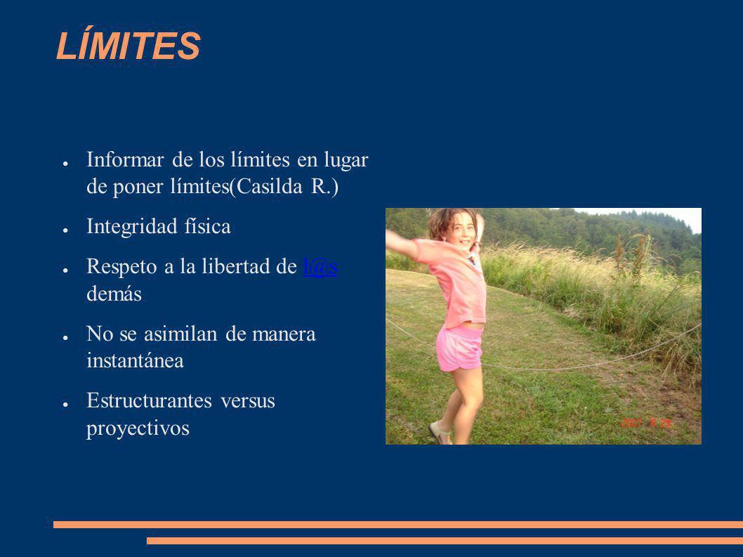 LÍMITES Informar de los límites en lugar de poner límites(Casilda R.) Integridad física Respeto a la libertad de l@s demásl@s No se asimilan de manera
