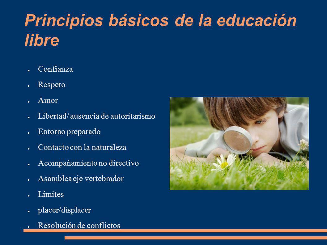 Principios básicos de la educación libre Confianza Respeto Amor Libertad/ ausencia de autoritarismo Entorno preparado Contacto con la naturaleza Acomp
