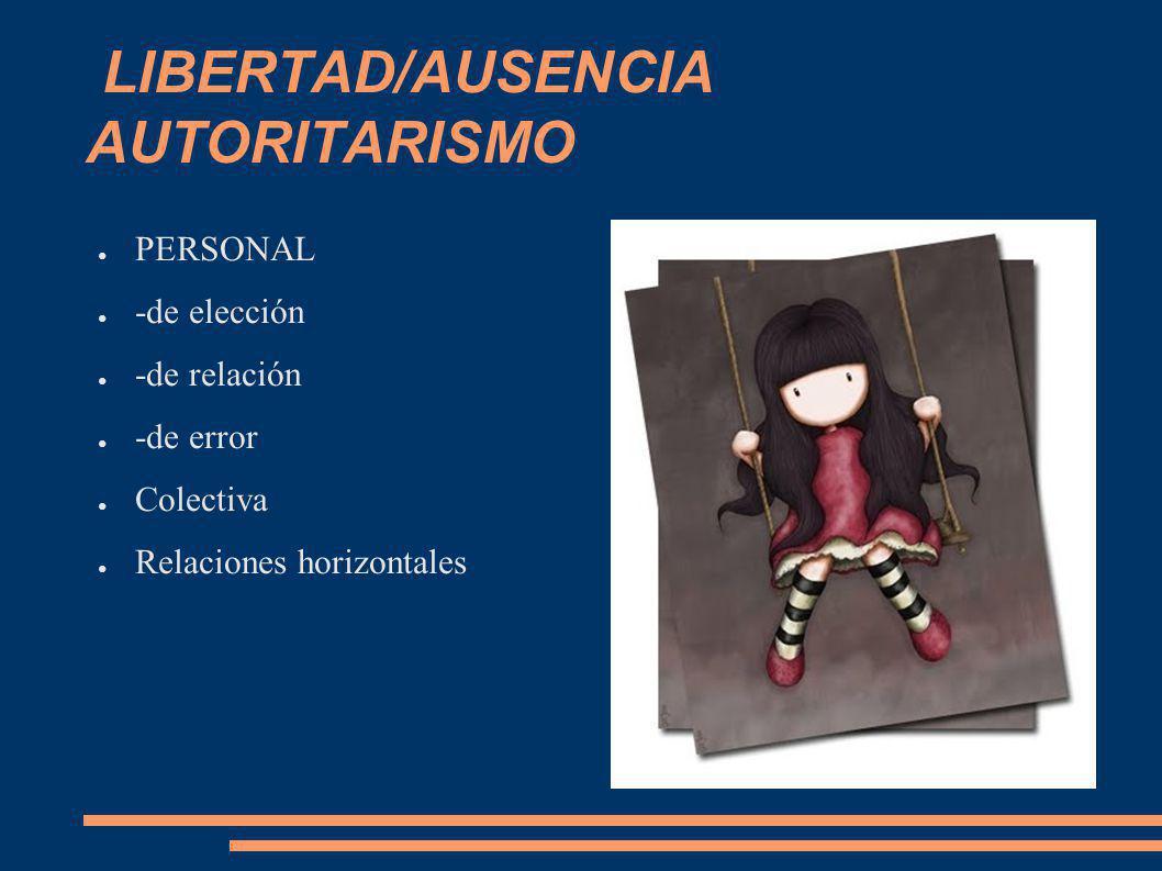 LIBERTAD/AUSENCIA AUTORITARISMO PERSONAL -de elección -de relación -de error Colectiva Relaciones horizontales
