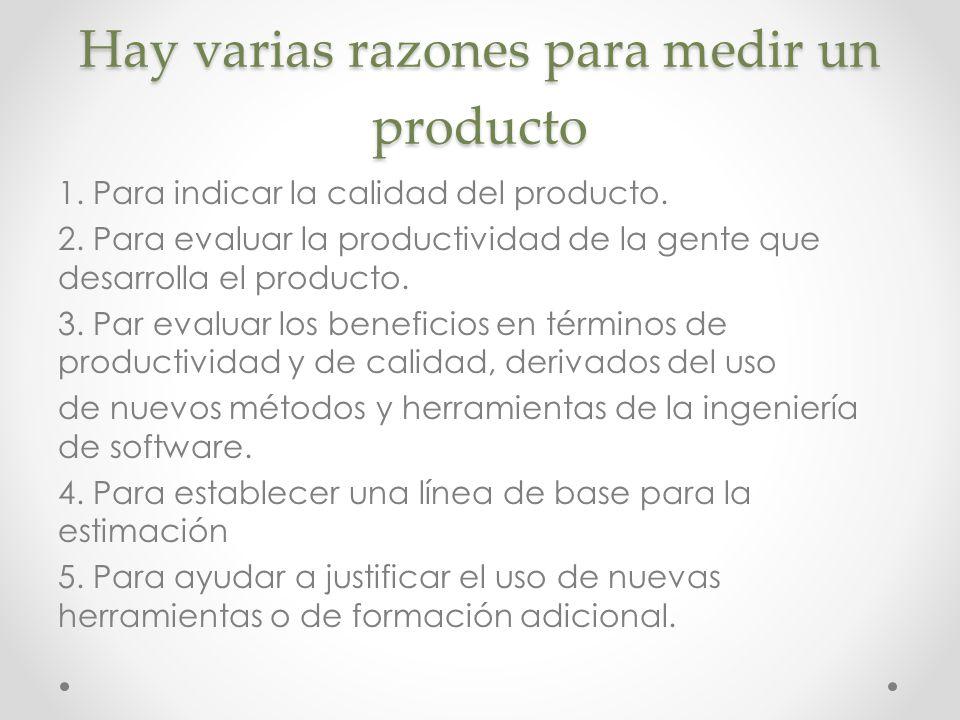 Hay varias razones para medir un producto 1. Para indicar la calidad del producto. 2. Para evaluar la productividad de la gente que desarrolla el prod