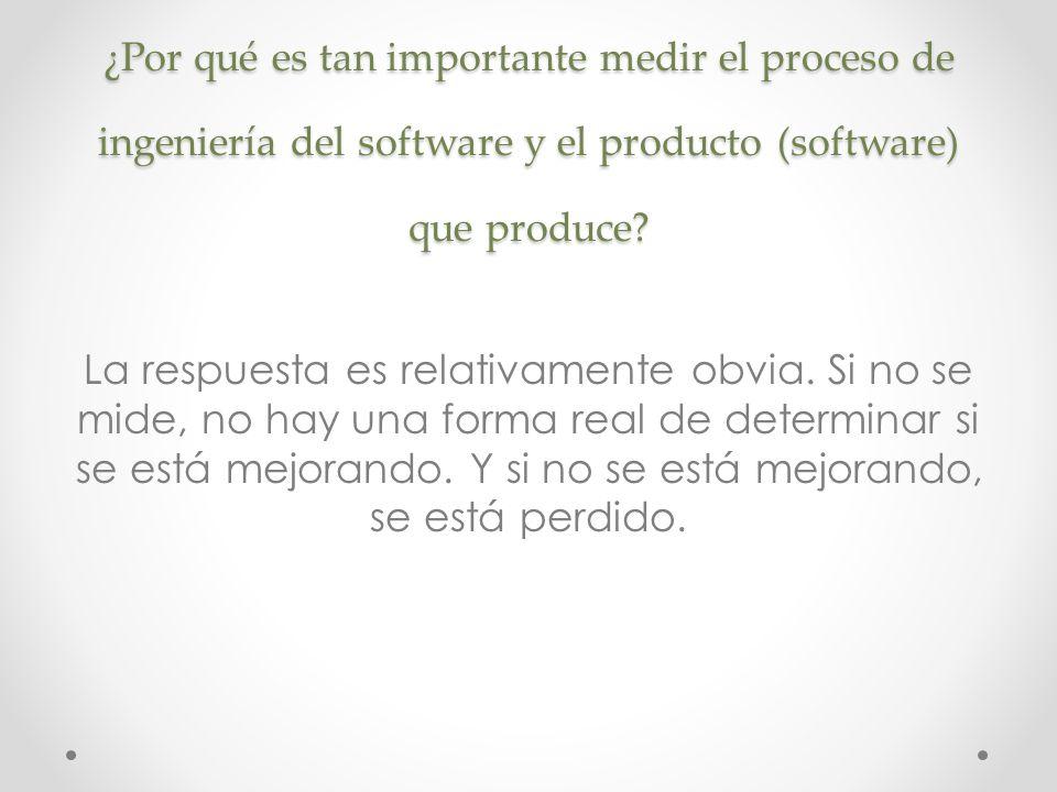 ¿Por qué es tan importante medir el proceso de ingeniería del software y el producto (software) que produce? La respuesta es relativamente obvia. Si n