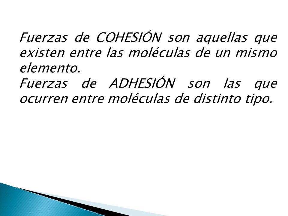Fuerzas de COHESIÓN son aquellas que existen entre las moléculas de un mismo elemento. Fuerzas de ADHESIÓN son las que ocurren entre moléculas de dist