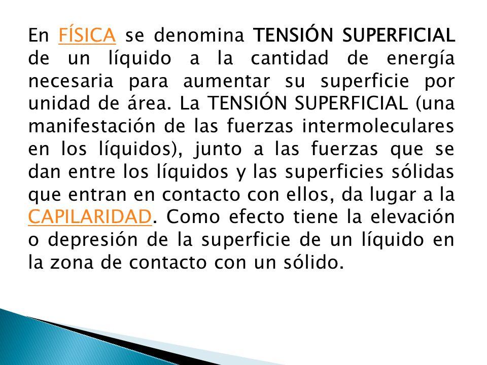 En FÍSICA se denomina TENSIÓN SUPERFICIAL de un líquido a la cantidad de energía necesaria para aumentar su superficie por unidad de área. La TENSIÓN