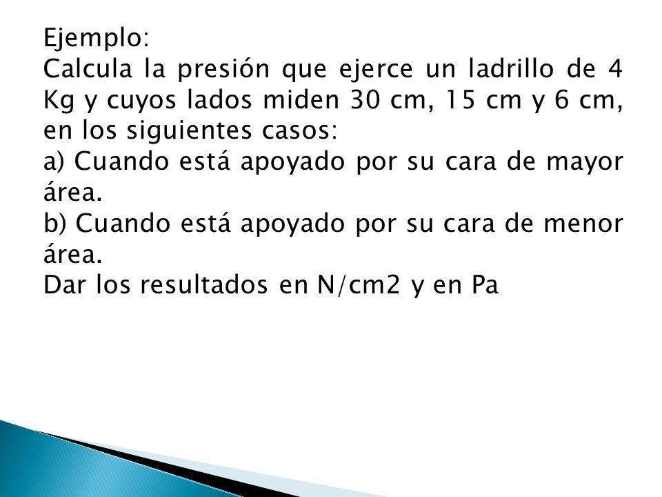 Ejemplo: Calcula la presión que ejerce un ladrillo de 4 Kg y cuyos lados miden 30 cm, 15 cm y 6 cm, en los siguientes casos: a) Cuando está apoyado po