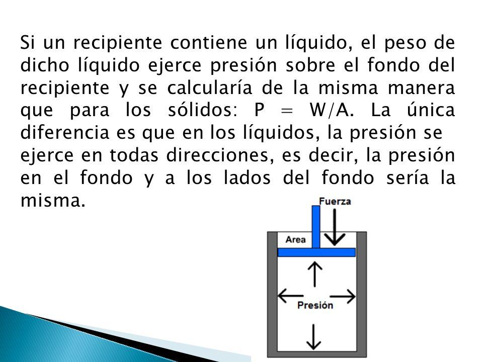 Si un recipiente contiene un líquido, el peso de dicho líquido ejerce presión sobre el fondo del recipiente y se calcularía de la misma manera que par