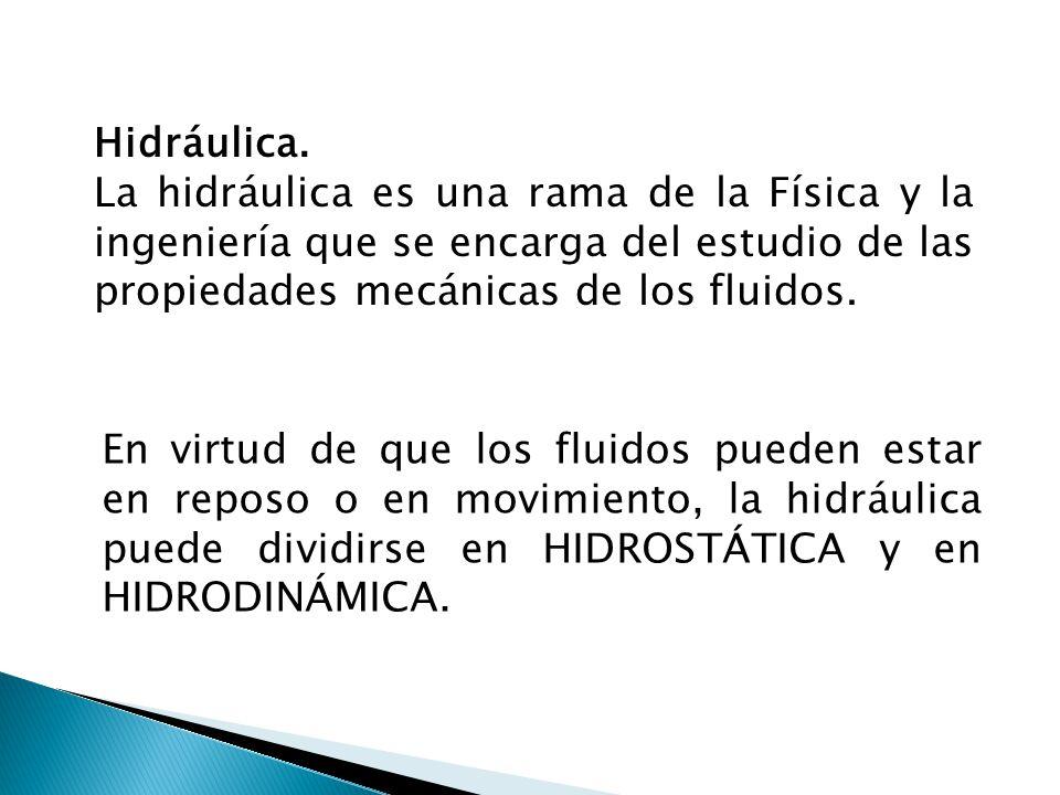 Hidrostática: Estudio de los fluidos en reposo Hidrodinámica: Estudio de los fluidos en movimiento Por el hecho de fluir libremente, se les llama Fluidos.