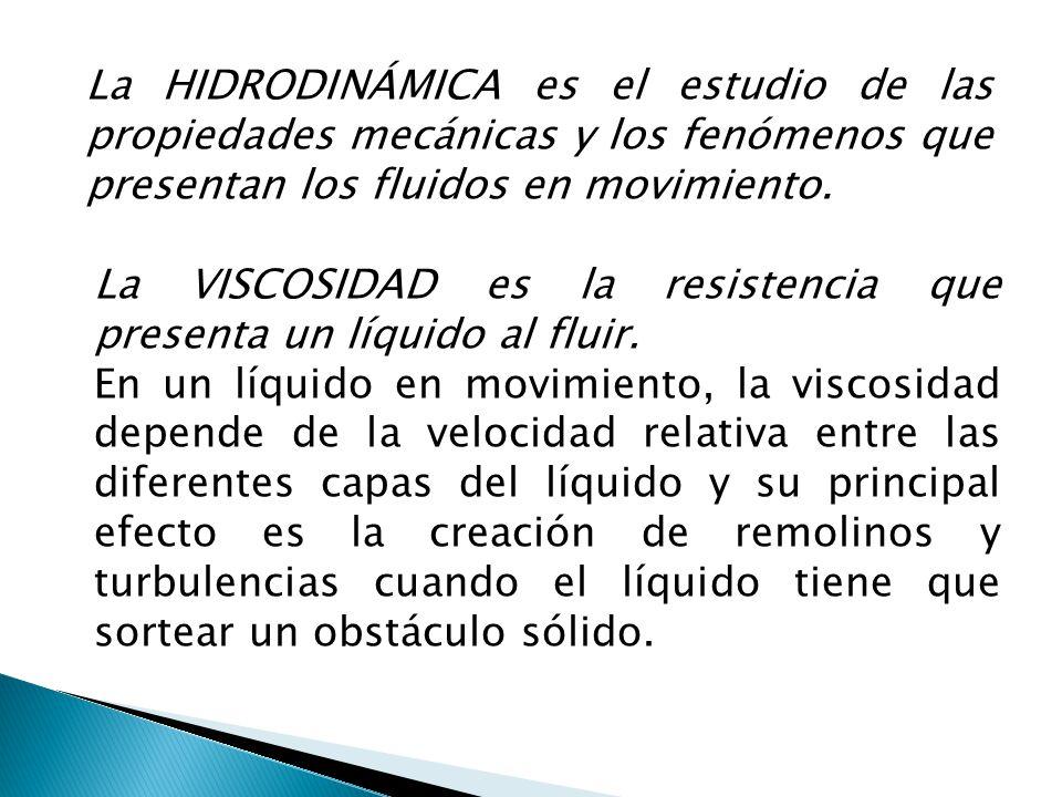 La HIDRODINÁMICA es el estudio de las propiedades mecánicas y los fenómenos que presentan los fluidos en movimiento. La VISCOSIDAD es la resistencia q