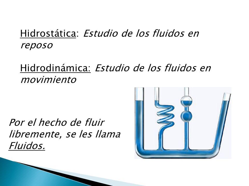 Hidrostática: Estudio de los fluidos en reposo Hidrodinámica: Estudio de los fluidos en movimiento Por el hecho de fluir libremente, se les llama Flui