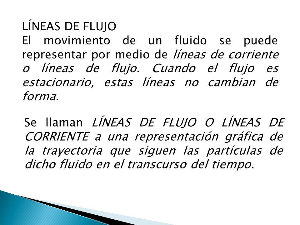 LÍNEAS DE FLUJO El movimiento de un fluido se puede representar por medio de líneas de corriente o líneas de flujo. Cuando el flujo es estacionario, e