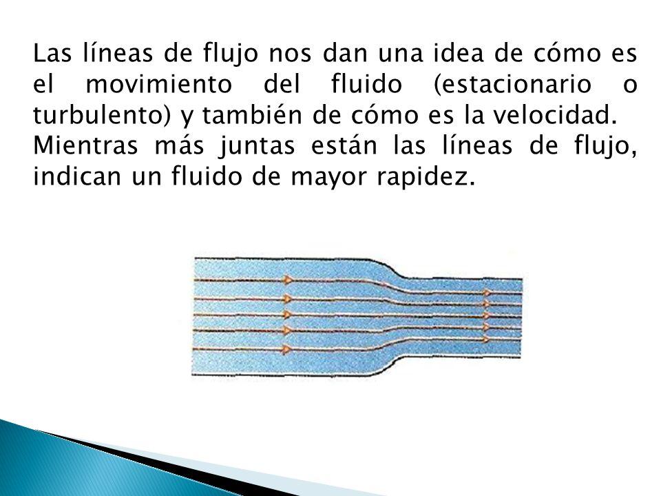 Las líneas de flujo nos dan una idea de cómo es el movimiento del fluido (estacionario o turbulento) y también de cómo es la velocidad. Mientras más j