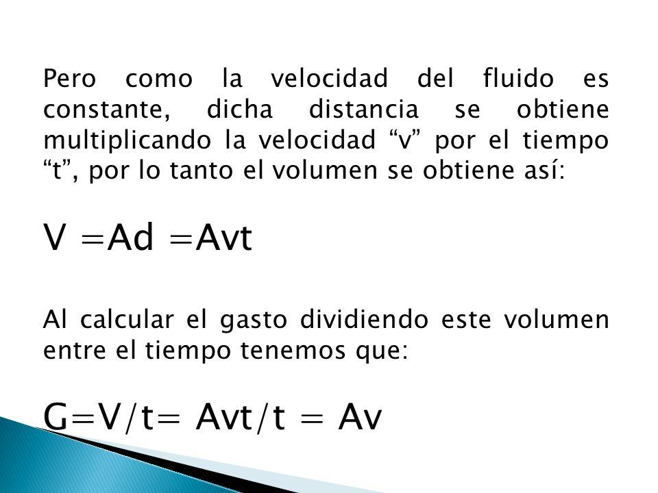 Pero como la velocidad del fluido es constante, dicha distancia se obtiene multiplicando la velocidad v por el tiempo t, por lo tanto el volumen se ob