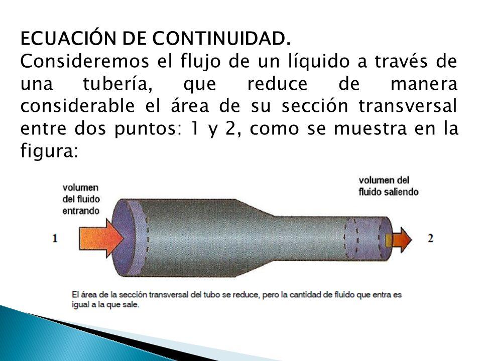 ECUACIÓN DE CONTINUIDAD. Consideremos el flujo de un líquido a través de una tubería, que reduce de manera considerable el área de su sección transver
