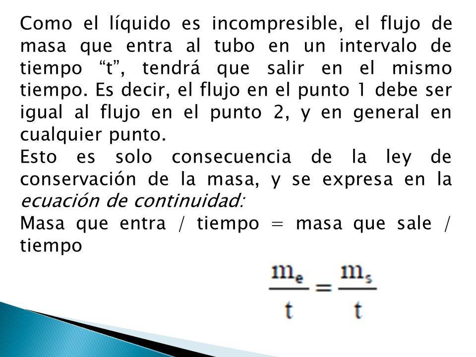 Como el líquido es incompresible, el flujo de masa que entra al tubo en un intervalo de tiempo t, tendrá que salir en el mismo tiempo. Es decir, el fl