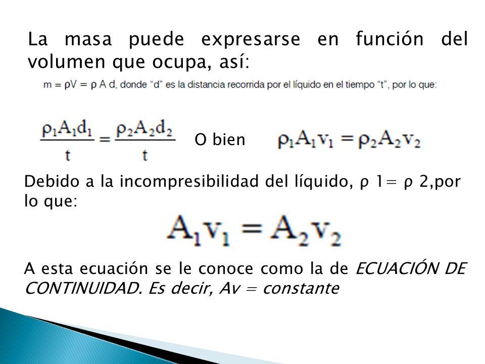 La masa puede expresarse en función del volumen que ocupa, así: O bien Debido a la incompresibilidad del líquido, ρ 1= ρ 2,por lo que: A esta ecuación