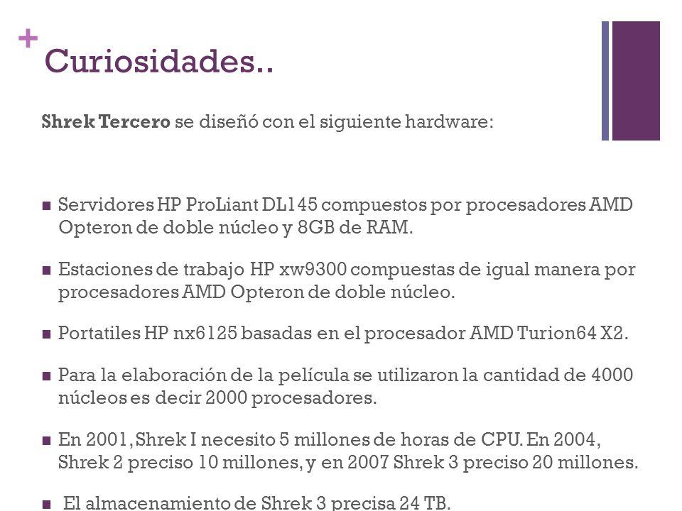 + Curiosidades.. Shrek Tercero se diseñó con el siguiente hardware: Servidores HP ProLiant DL145 compuestos por procesadores AMD Opteron de doble núcl
