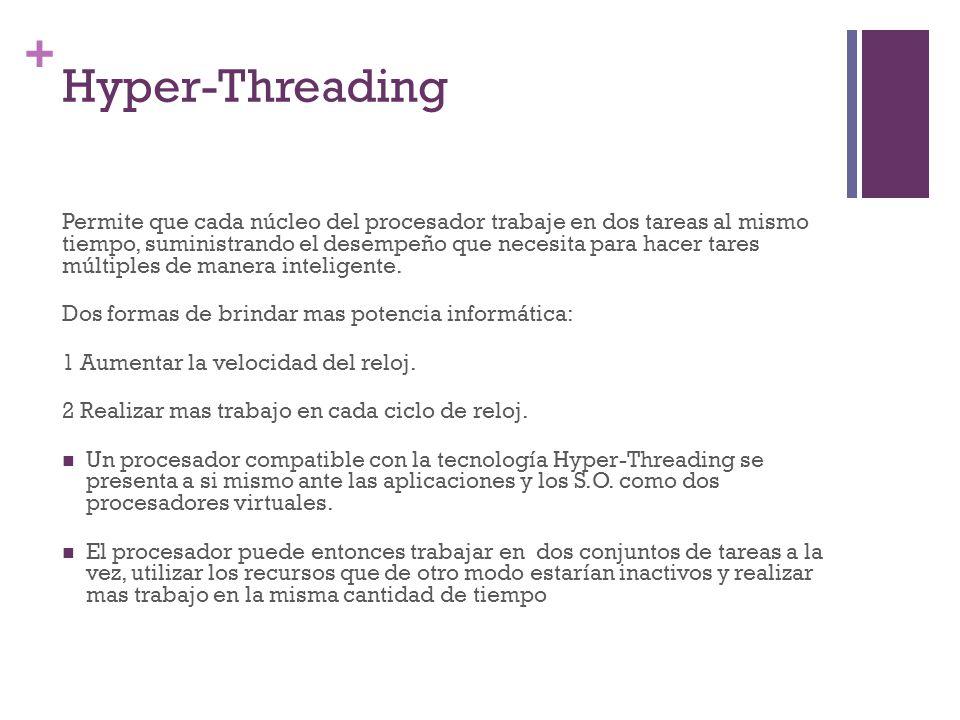 + Hyper-Threading Permite que cada núcleo del procesador trabaje en dos tareas al mismo tiempo, suministrando el desempeño que necesita para hacer tar
