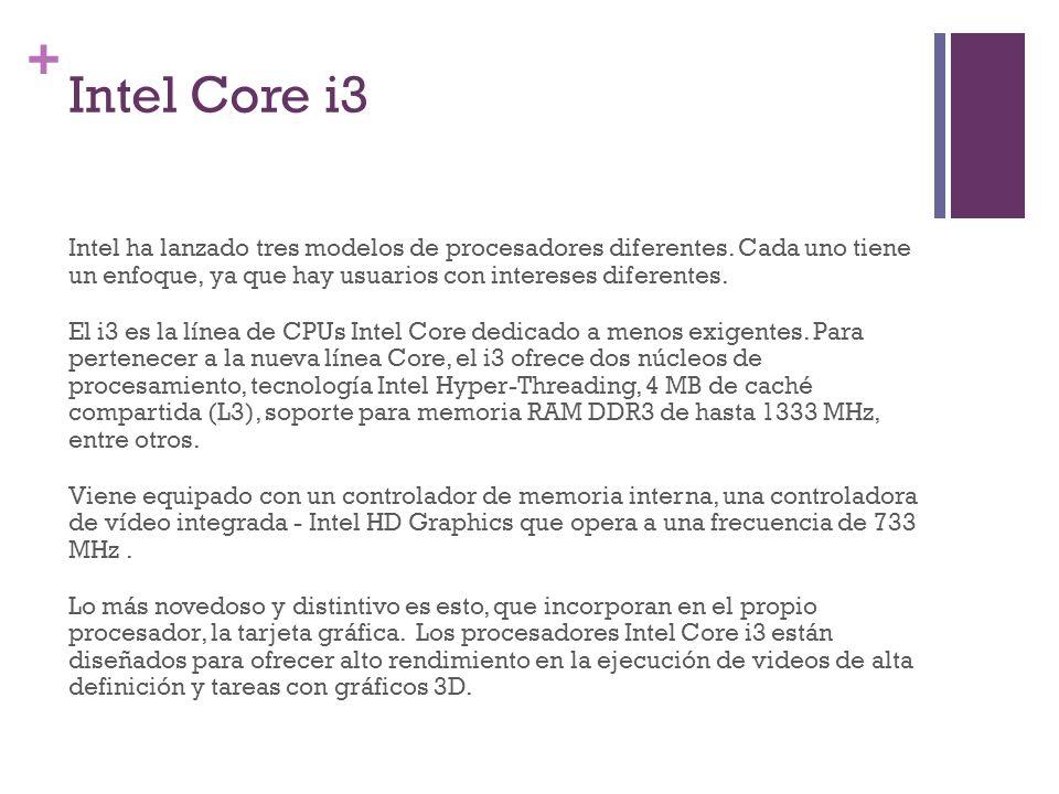 + Intel Core i3 Intel ha lanzado tres modelos de procesadores diferentes. Cada uno tiene un enfoque, ya que hay usuarios con intereses diferentes. El
