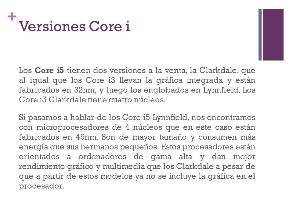 + Versiones Core i Los Core i5 tienen dos versiones a la venta, la Clarkdale, que al igual que los Core i3 llevan la gráfica integrada y están fabrica