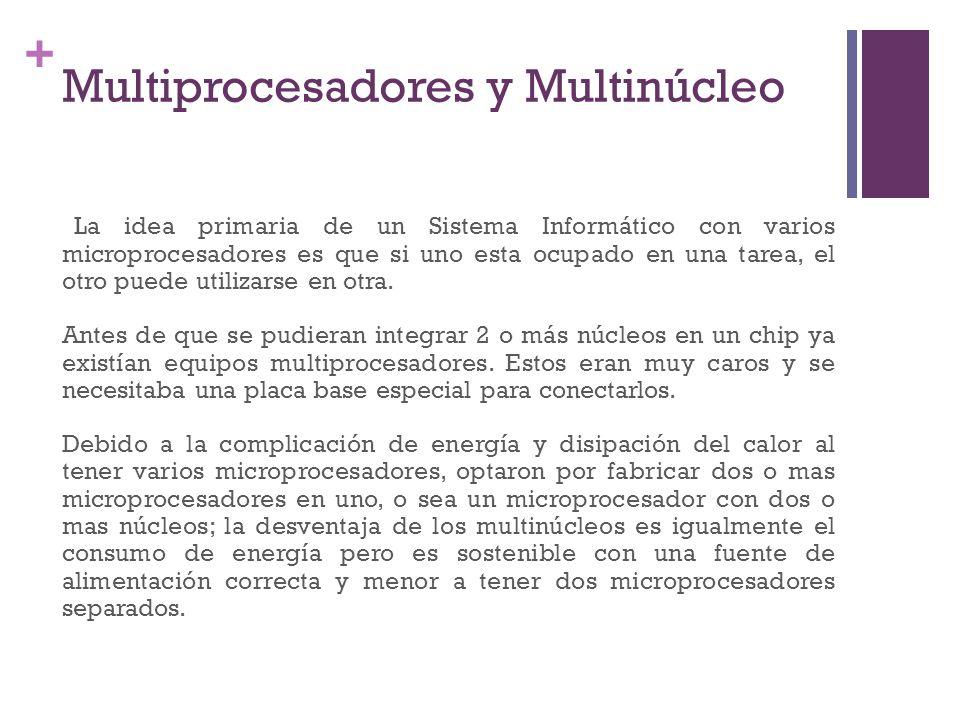 + Multiprocesadores y Multinúcleo La idea primaria de un Sistema Informático con varios microprocesadores es que si uno esta ocupado en una tarea, el