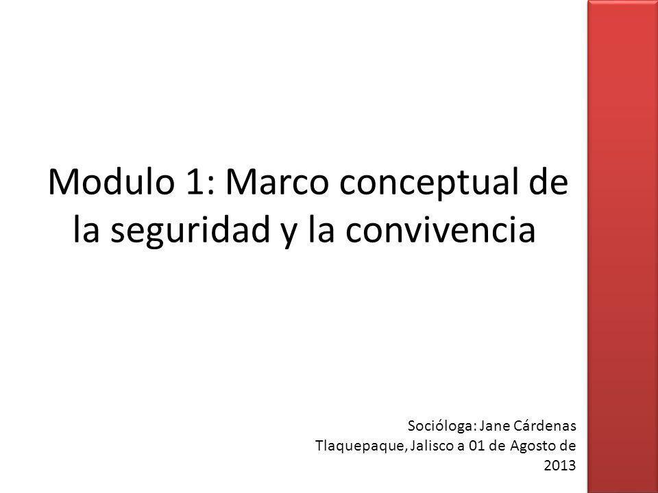 Modulo 1: Marco conceptual de la seguridad y la convivencia Socióloga: Jane Cárdenas Tlaquepaque, Jalisco a 01 de Agosto de 2013