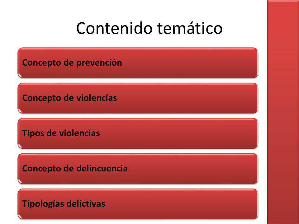 Contenido temático Concepto de prevenciónConcepto de violenciasTipos de violenciasConcepto de delincuenciaTipologías delictivas