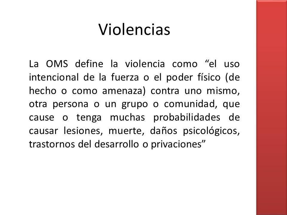 La OMS define la violencia como el uso intencional de la fuerza o el poder físico (de hecho o como amenaza) contra uno mismo, otra persona o un grupo