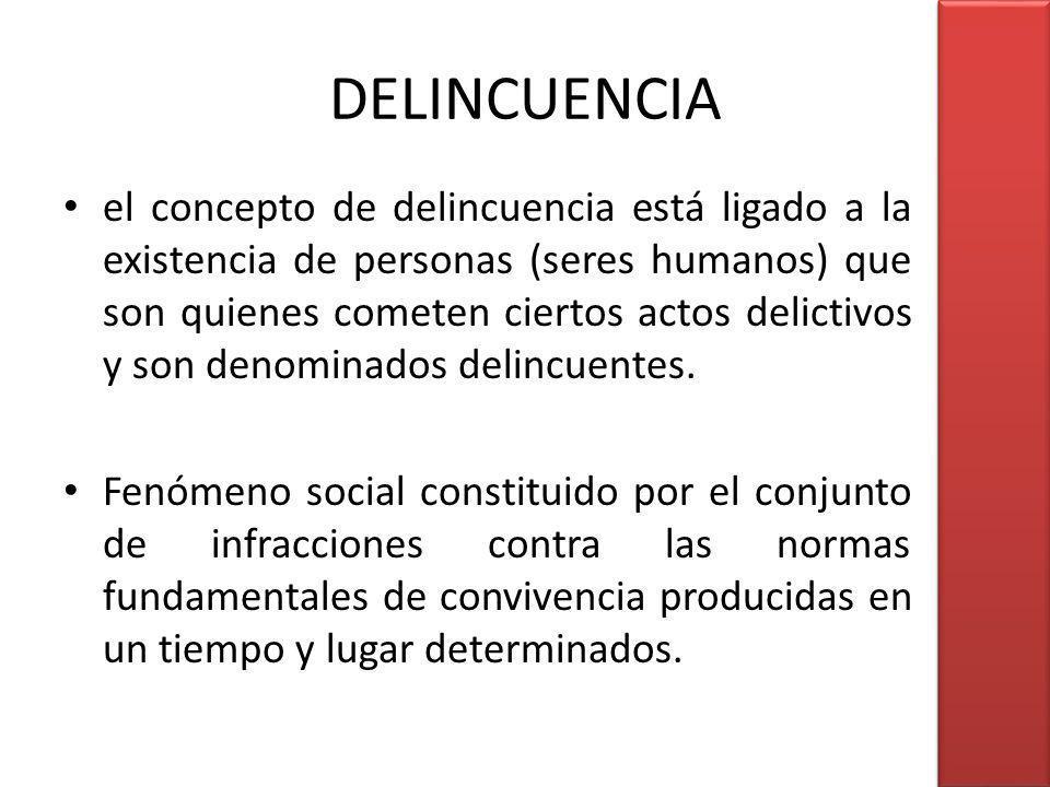 DELINCUENCIA el concepto de delincuencia está ligado a la existencia de personas (seres humanos) que son quienes cometen ciertos actos delictivos y so