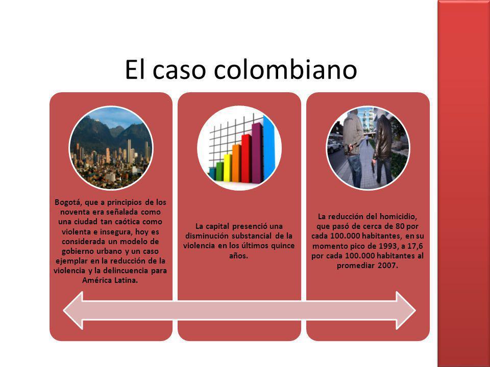 El caso colombiano Bogotá, que a principios de los noventa era señalada como una ciudad tan caótica como violenta e insegura, hoy es considerada un mo