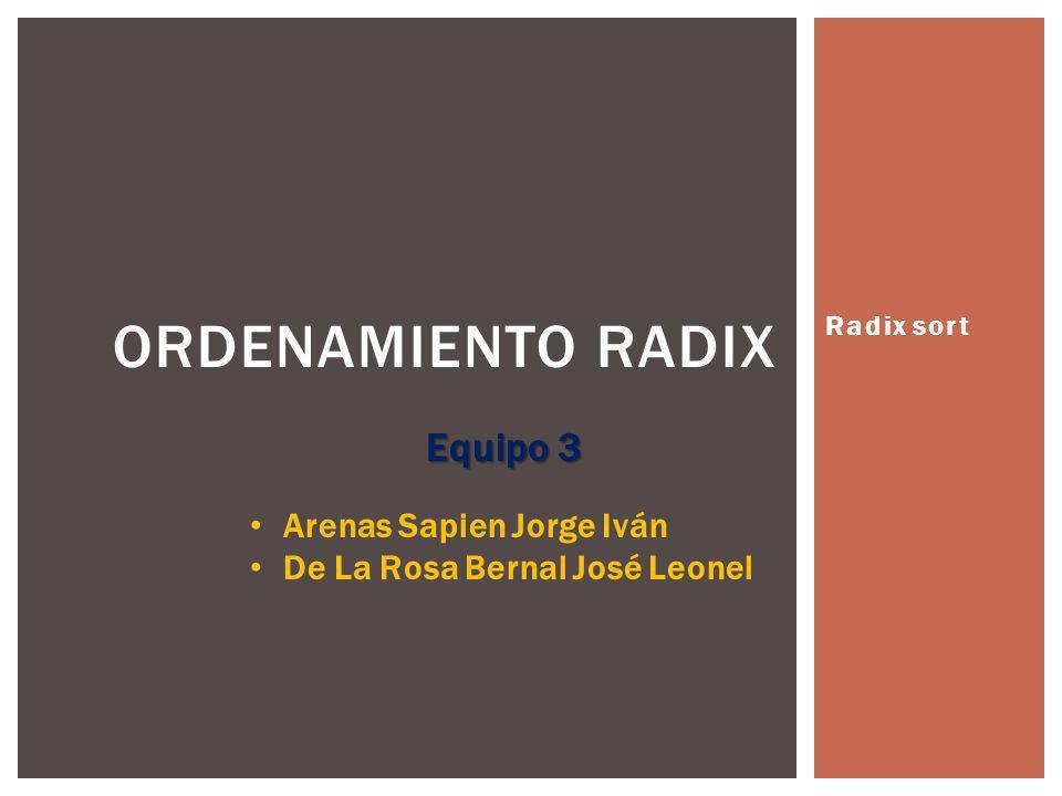 Radix sort ORDENAMIENTO RADIX Equipo 3 Arenas Sapien Jorge Iván De La Rosa Bernal José Leonel