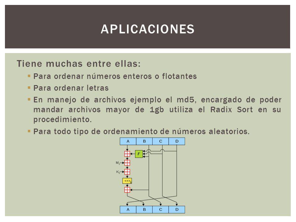 Tiene muchas entre ellas: Para ordenar números enteros o flotantes Para ordenar letras En manejo de archivos ejemplo el md5, encargado de poder mandar