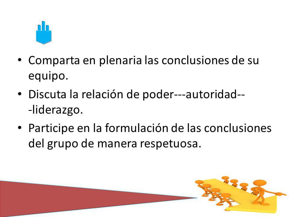 Comparta en plenaria las conclusiones de su equipo. Discuta la relación de poder--autoridad-- liderazgo. Participe en la formulación de las conclusion