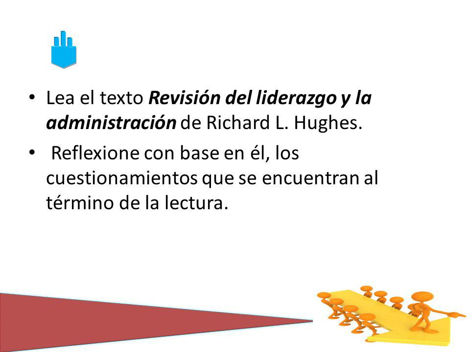Lea el texto Revisión del liderazgo y la administración de Richard L. Hughes. Reflexione con base en él, los cuestionamientos que se encuentran al tér