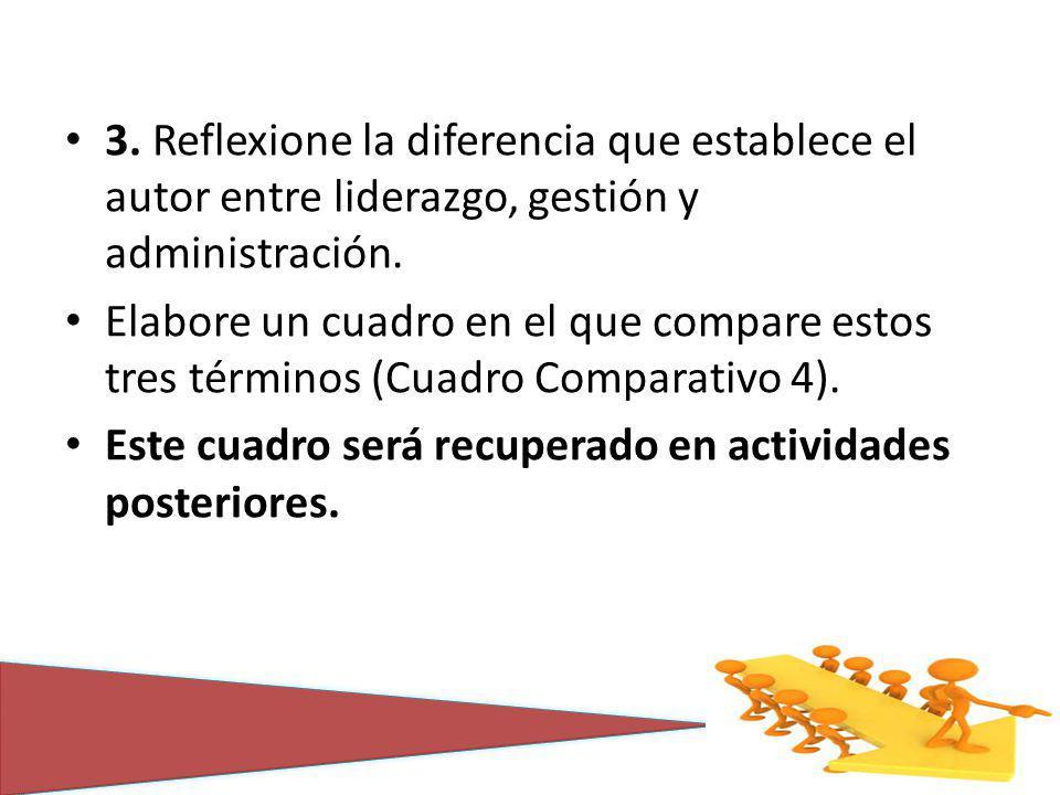 3. Reflexione la diferencia que establece el autor entre liderazgo, gestión y administración. Elabore un cuadro en el que compare estos tres términos