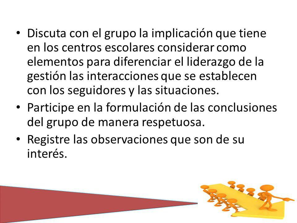 Discuta con el grupo la implicación que tiene en los centros escolares considerar como elementos para diferenciar el liderazgo de la gestión las inter
