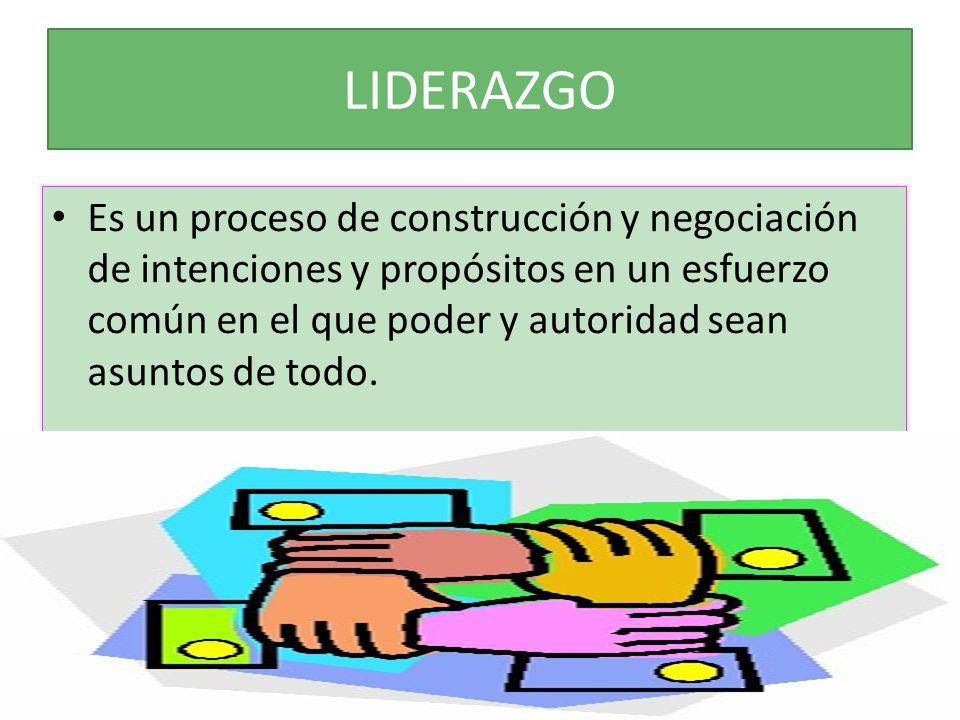LIDERAZGO Es un proceso de construcción y negociación de intenciones y propósitos en un esfuerzo común en el que poder y autoridad sean asuntos de tod