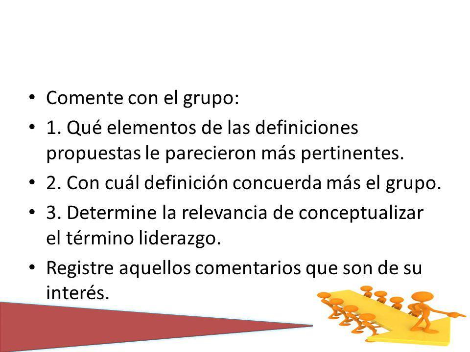 Comente con el grupo: 1. Qué elementos de las definiciones propuestas le parecieron más pertinentes. 2. Con cuál definición concuerda más el grupo. 3.