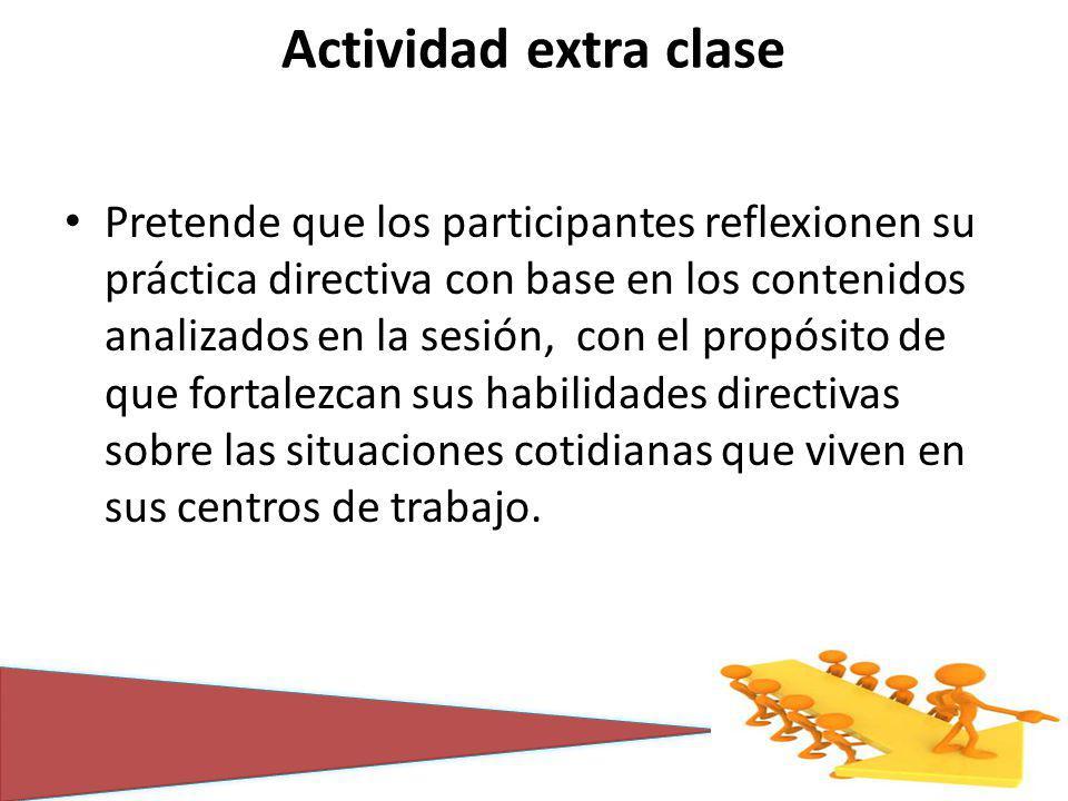 Actividad extra clase Pretende que los participantes reflexionen su práctica directiva con base en los contenidos analizados en la sesión, con el propósito de que fortalezcan sus habilidades directivas sobre las situaciones cotidianas que viven en sus centros de trabajo.