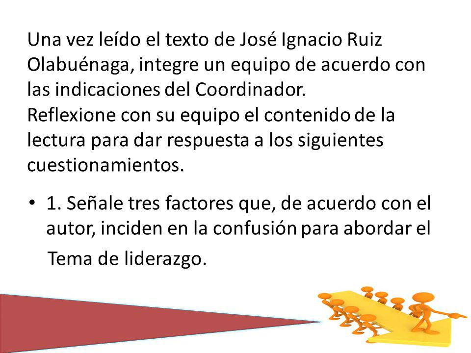 Una vez leído el texto de José Ignacio Ruiz Olabuénaga, integre un equipo de acuerdo con las indicaciones del Coordinador. Reflexione con su equipo el