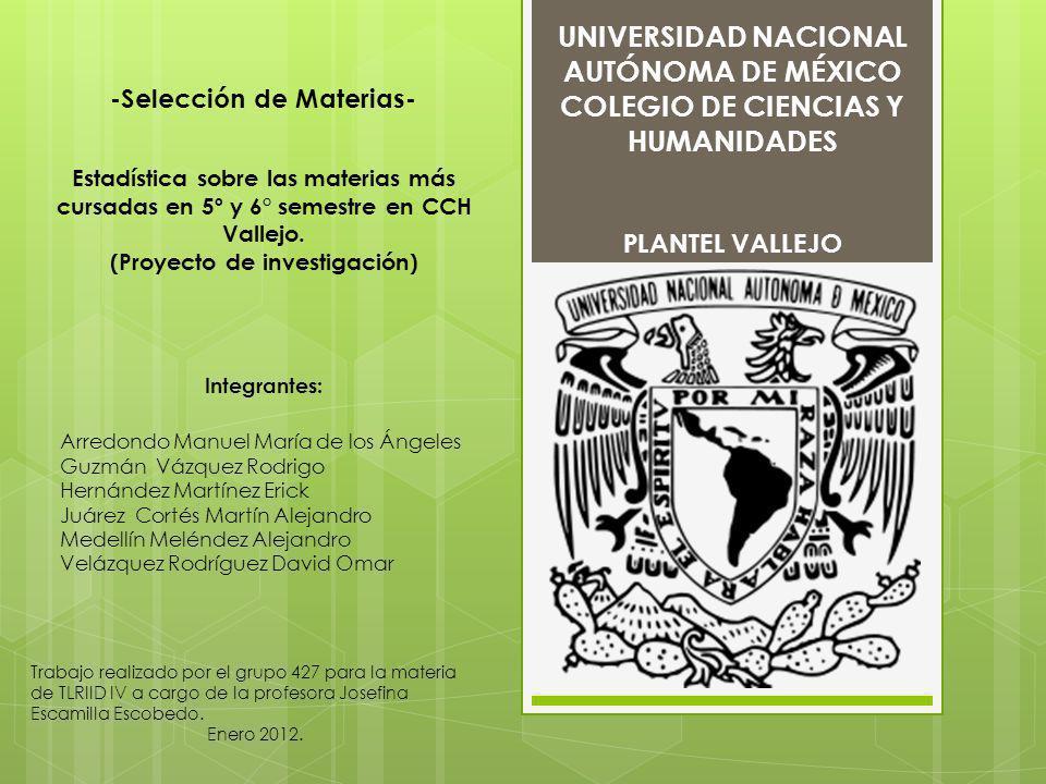 UNIVERSIDAD NACIONAL AUTÓNOMA DE MÉXICO COLEGIO DE CIENCIAS Y HUMANIDADES PLANTEL VALLEJO -Selección de Materias- Estadística sobre las materias más c