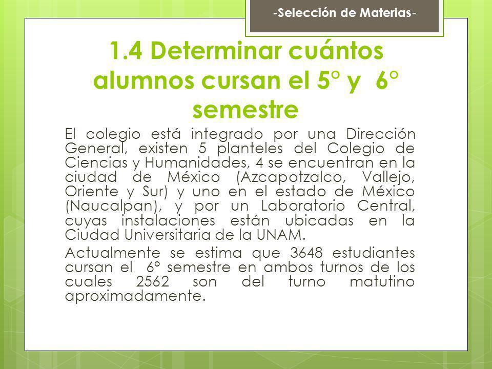 1.4 Determinar cuántos alumnos cursan el 5° y 6° semestre El colegio está integrado por una Dirección General, existen 5 planteles del Colegio de Cien