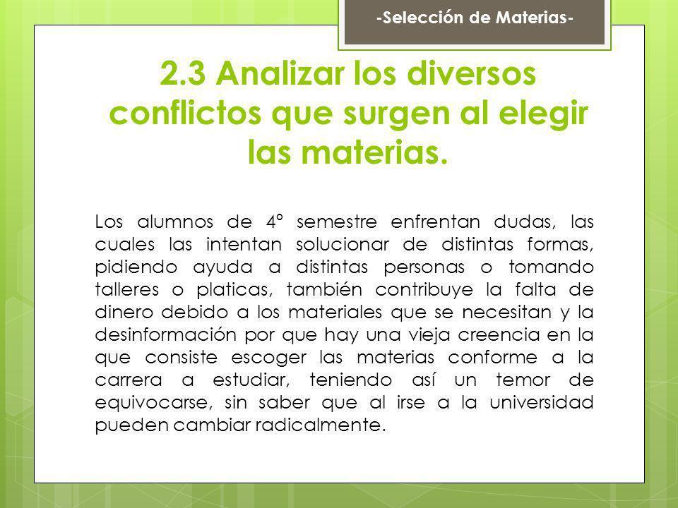 2.3 Analizar los diversos conflictos que surgen al elegir las materias. Los alumnos de 4º semestre enfrentan dudas, las cuales las intentan solucionar