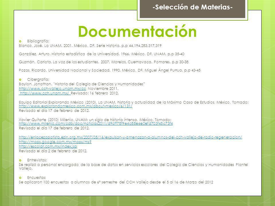 Documentación Bibliografía: Blanco, José. La UNAM. 2001. México, DF. Serie Historia. p.p 44,194,283,317,319 González, Arturo. Historia estadística de