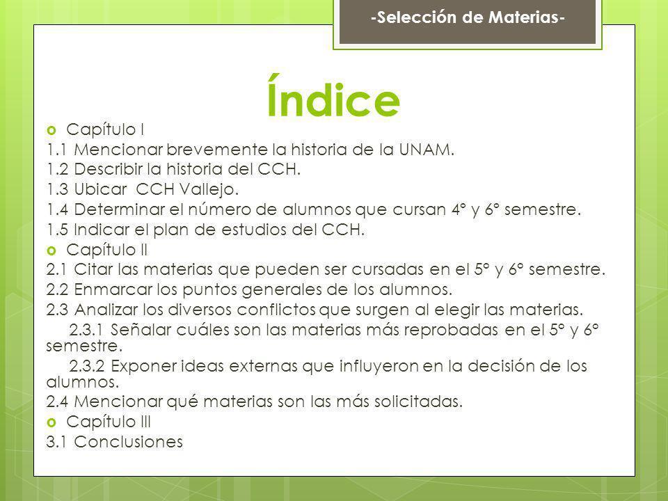 Índice Capítulo I 1.1 Mencionar brevemente la historia de la UNAM. 1.2 Describir la historia del CCH. 1.3 Ubicar CCH Vallejo. 1.4 Determinar el número