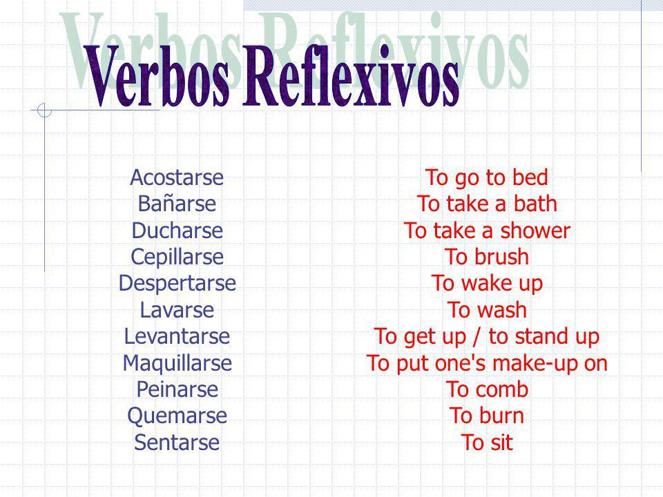 Posición de los pronombres reflexivos: 1.In front of a conjugated verb: Me acuesto a las diez de la noche. Me quiero acostar a las diez de la noche. M